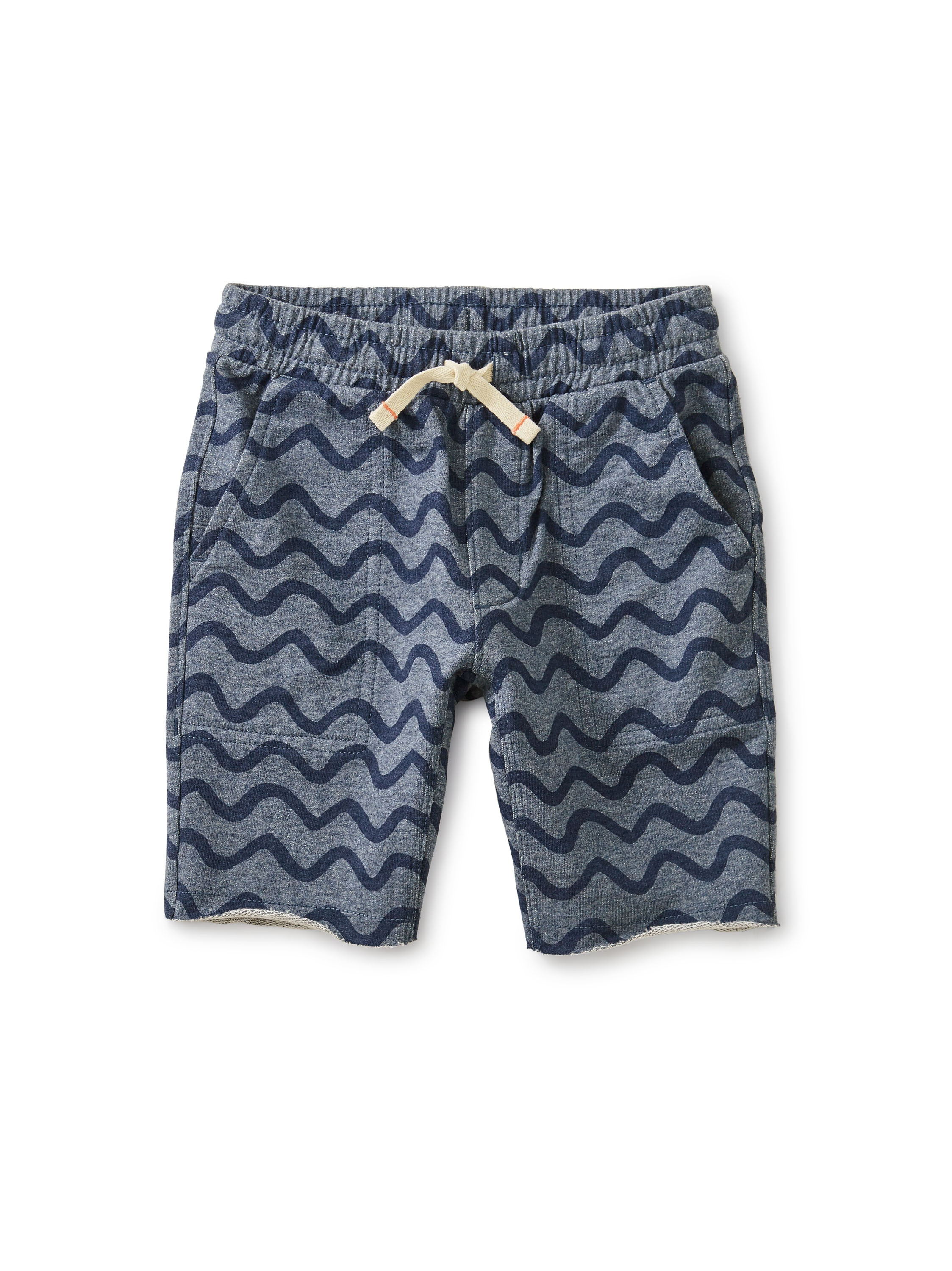 Printed Knit Gym Shorts Aegean Waves