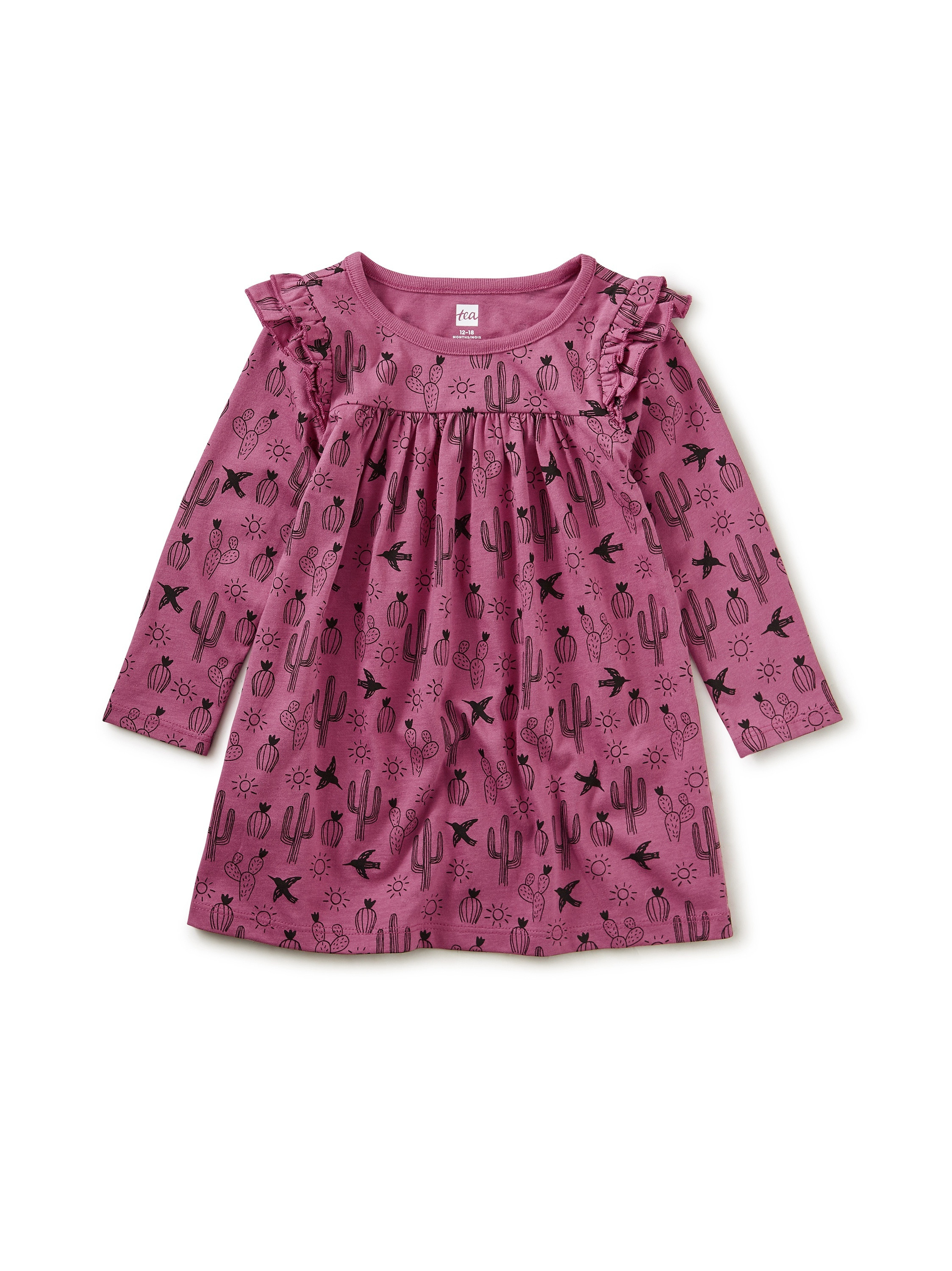 Ruffle Shoulder Baby Dress Magenta Desert