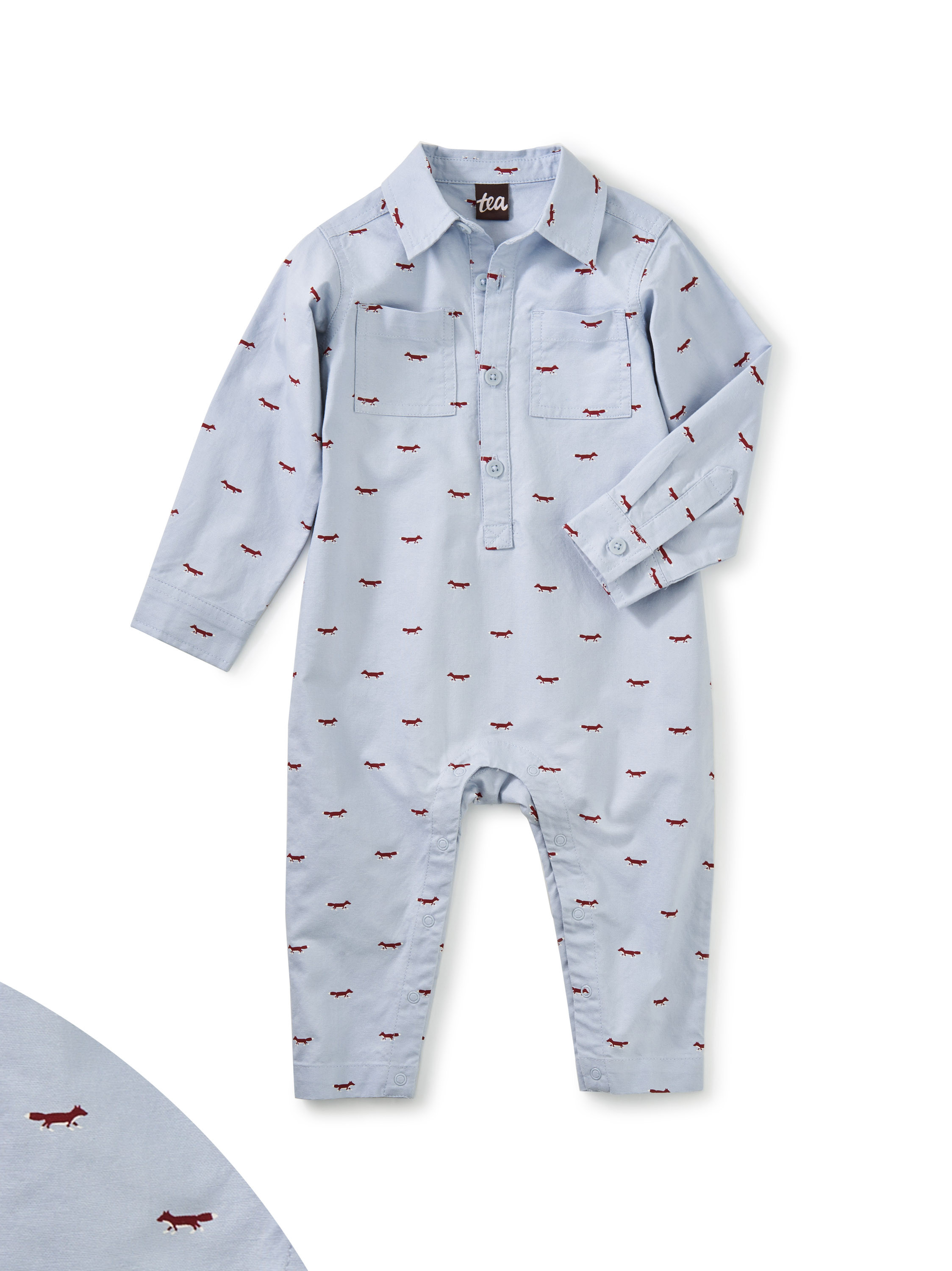 Patterned Button Romper-Oxford Fox