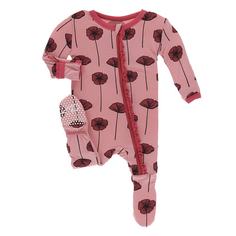 Footie with Zipper-Strawberry Poppies