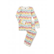 Long Sleeve Pajamas-Rainbow Waves