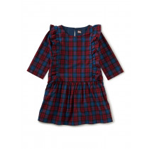 Ruffle Hem Dress-Family Plaid