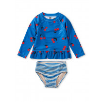 Ruffle Rash Guard Baby Swim Set-Cherries