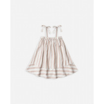Shoulder Tie Dress-Petal Stripe